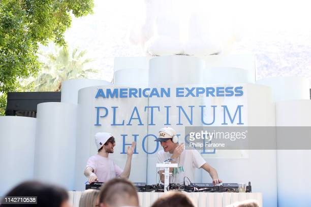 Frederic Kennett and Robert Hauldren of the duo Louis The Child performs onstage at the American Express Platinum House at the Avalon Hotel Palm...