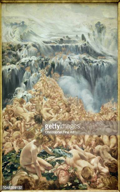 Frederic Leon-henri THE GLACIER - THE TORRENT LEFT PART OF THE TRIPTYQUE THE CREEK Royal Fine Arts of Brussels.