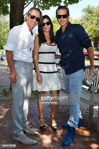 Frederic Marq Adriana de Moura and Alfred Culbreth visit Pierre's on August 9 2014 in Bridgehampton New York