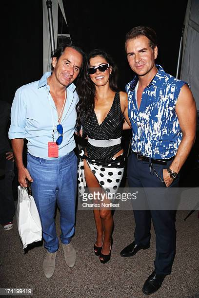 Frederic Marq Adriana DeMoura and Vincent De Paul pose backstage at the AZ Araujo show during MercedesBenz Fashion Week Swim 2014 at Oasis at the...