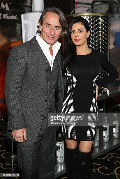 Frederic Marq and Adriana de Moura attend Miami Club Rum Official Partnership Launch With William Levy at Ritz Carlton South Beach on February 18...