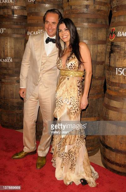 Frederic Marq and Adriana De Moura attend the Bacardi 150th Anniversary Celebration on January 28 2012 in Miami Florida