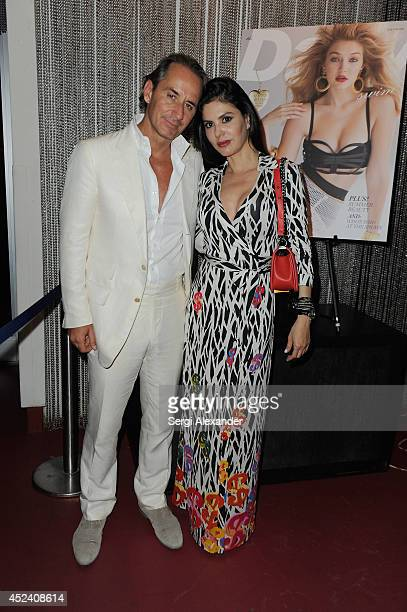 Frederic Marq and Adriana de Moura attend The Daily Swim 10 Year Anniversary party presented by Evian at Shore Club on July 19 2014 in Miami Beach...