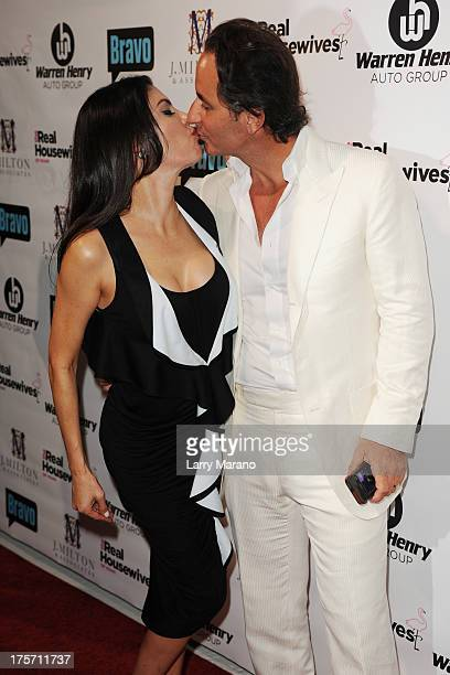 Frederic Marq and Adriana De Moura attend The Real Housewives of Miami season 3 premiere party on August 6 2013 in Miami Florida
