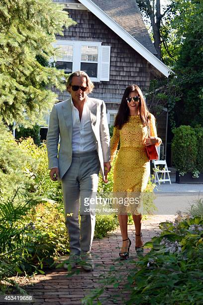 Frederic Marq and Adriana de Moura seen on August 9 in Bridgehampton New York