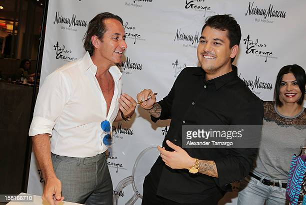 Frederic Marq and Rob Kardashian pose during the Arthur George Socks Collection presentation at Neiman Marcus Bal Harbour at Neiman Marcus on...