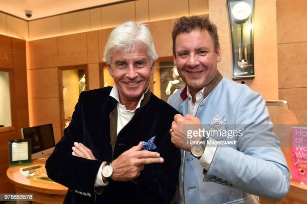 Frederic Meisner and Andreas Meister attend the launch event for watchmaking company NOMOS Glashuette at Juweler Hilscher on June 19 2018 in Munich...