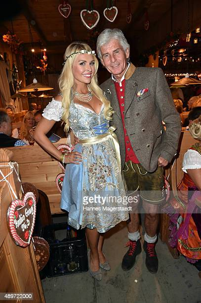 Frederic Meisner and Denise Cotte attend the Radio Gong 963 Wiesn at Weinzelt during the Oktoberfest 2015 on September 23 2015 in Munich Germany