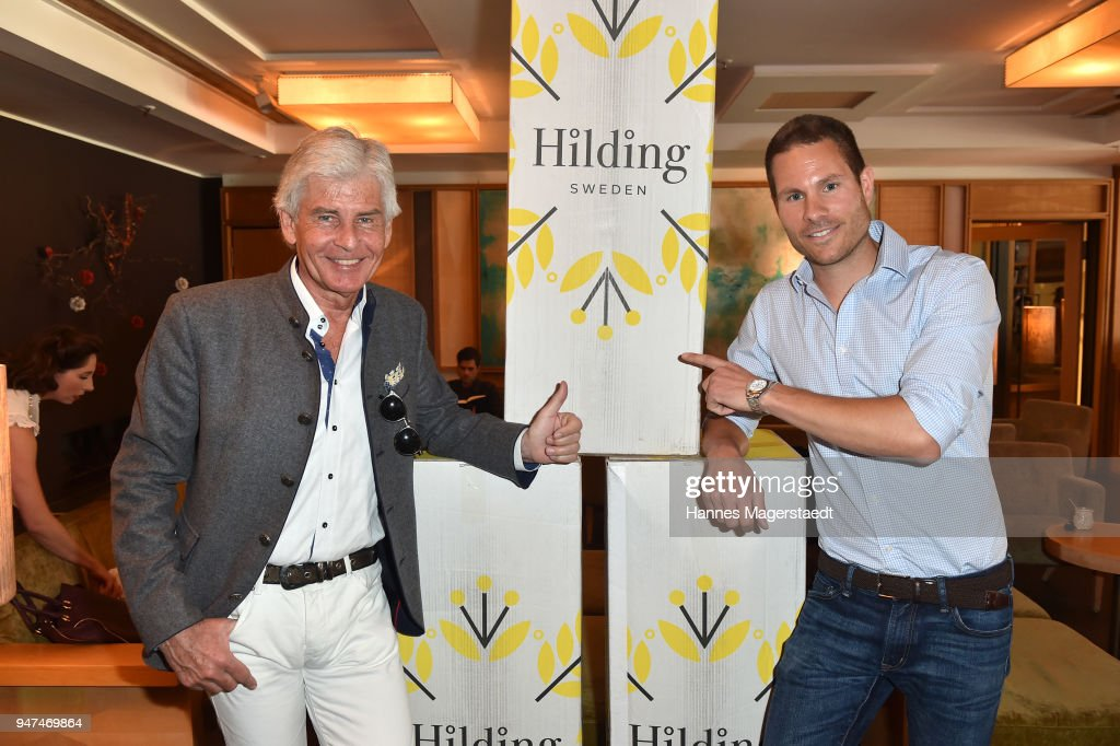 Frederic Meisner and Max Fischer (Hilding) attend the celebration of the first Weltmatratzenwendetag ( World Mattress Flipping Day ) at Hotel Louis on April 17, 2018 in Munich, Germany.