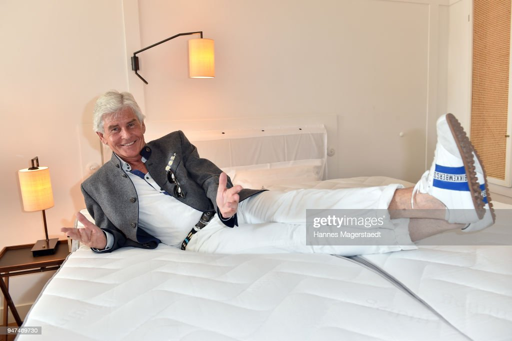 Frederic Meisner attends the celebration of the first Weltmatratzenwendetag ( World Mattress Flipping Day ) at Hotel Louis on April 17, 2018 in Munich, Germany.