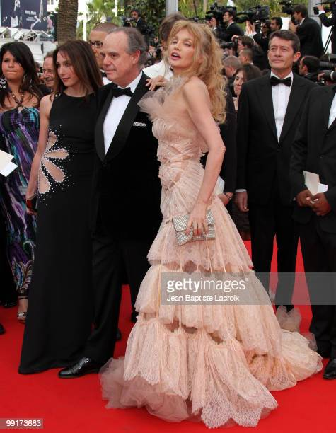 Frederic Mitterrand and Arielle Dombasle attend the Opening Night Premiere of 'Robin Hood' at the Palais des Festivals during the 63rd Annual...
