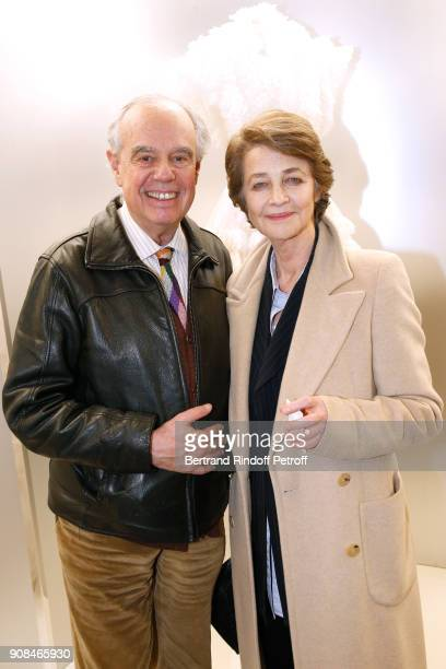 Frederic Mitterrand and Charlotte Rampling attend the 'Azzedine Alaia Je Suis Couturier' Exhibition as part of Paris Fashion Week Held at 'Azzedine...