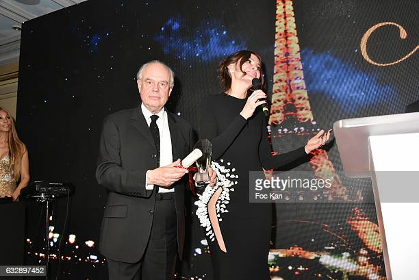 Frederic Mitterrand and Lola KarimovaTillyaeva attend 'The Best Award Gala 40th Edition' at Four Seasons George V Hotel on January 27 2017 in Paris...