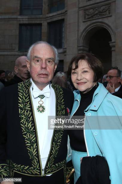 """Frederic Mitterrand and Macha Meril attend the Installation of Frederic Mitterrand at the """"Academie des Beaux-Arts"""". Held at """"Academie des..."""