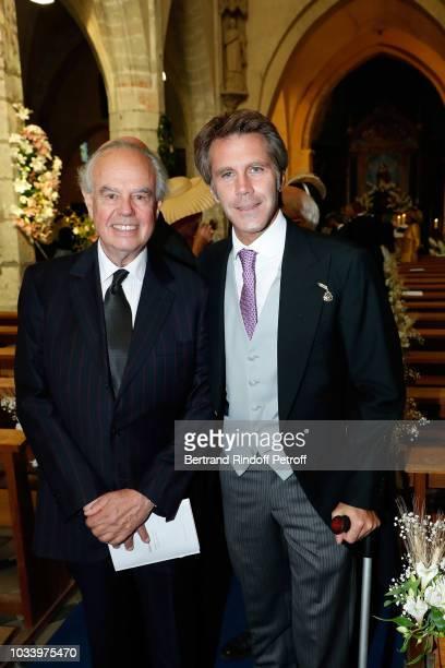 Frederic Mitterrand and Prince de Venise Emmanuel Philibert de Savoie attend Wedding of Helene of Yougoslavia and Stanislas Fougeron at Eglise Saint...