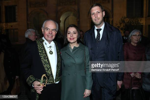 """Frederic Mitterrand, Princess Elia of Albania and Prince Leka of Albania attend the Installation of Frederic Mitterrand at the """"Academie des..."""