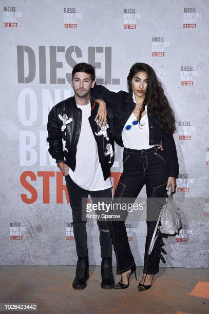 Frederic Monceau and Farnoush Hamidian attend the Diesel Fragrance 'Only the Brave Street' Launch Party at Palais De Tokyo on September 6 2018 in...