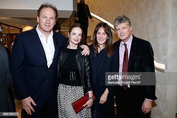 Frederic Motte with his wife Angelique HennessyMotte and Auctioneer at Artcurial Francois Tajan with his wife Veronique attend Lorenz Baumer presents...