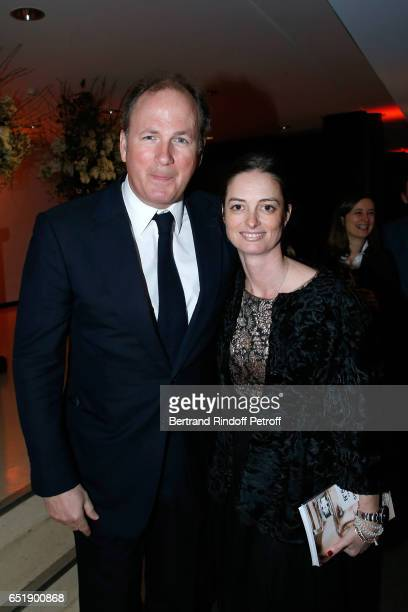 Frederic Motte with his wife Angelique HennessyMotte attend the AROP Charity Gala with the representation of 'Carmen' at Opera Bastille on March 10...