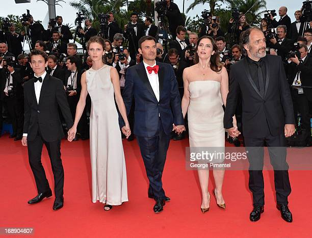 R Frederic Pierrot Geraldine Pailhas Francois Ozon Marine Vacth and Fantin Ravat attend the 'Jeune Jolie' premiere during The 66th Annual Cannes Film...