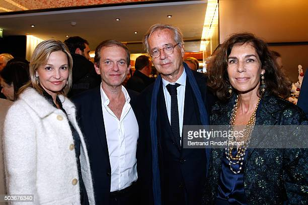 Frederic Saldmann with his wife Marie Saldmann and Editors Olivier Orban with his wife Christine Orban attend the 'Arrete Ton Cinema ' Paris Premiere...
