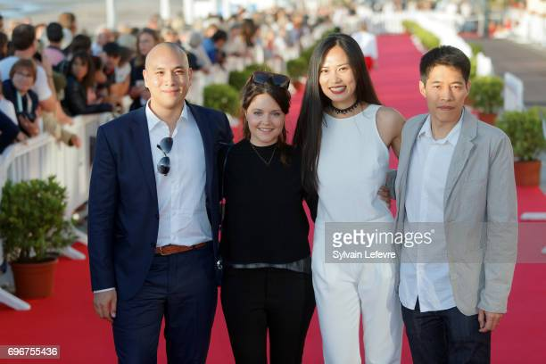 Frederic Siuen Audrey Bastien Xin Wang Francois Yang attend red carpet of 3rd day of the 31st Cabourg Film Festival on June 16 2017 in Cabourg France