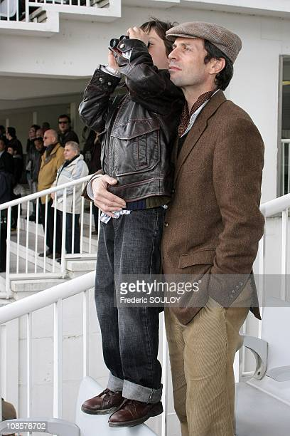 Frederic Taddei and his son Diego at the 'Hippodrome de Longchamp' in Paris France on April 6 2008