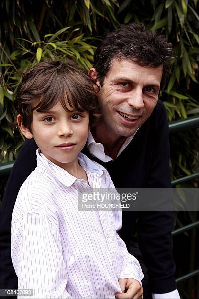 Frederic Taddei and his son Diego in Paris France on June 03 2007