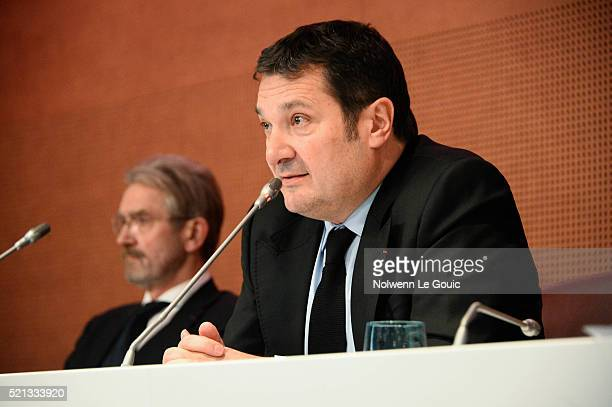 Frederic Thiriez president of LFP who announces his resignation and Didier Quillot executive general manager of LFP during the General Meeting of the...