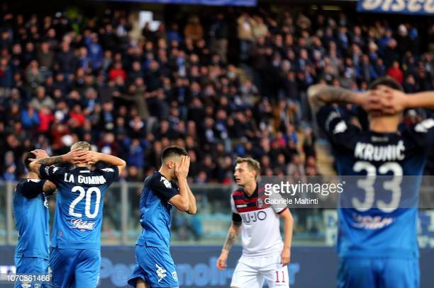 Frederic Veseli and Antonino La Gumina of Empoli FC gestures during the Serie A match between Empoli and Bologna FC at Stadio Carlo Castellani on...