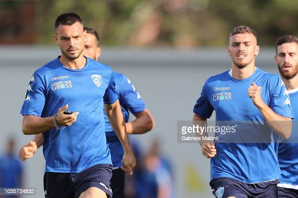 Frederic Veseli and Joel Untersee of Empoli FC in action during training session on September 18 2018 in Empoli Italy