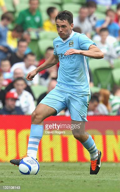 Frederic Veseli of Manchester City runs with the ball during the Dublin Super Cup match between Manchester City and Airtricity XI at Aviva Stadium on...