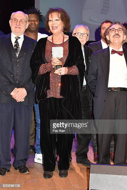 Frederic Vidal Claudia Cardinale Andre Tacchella and Ferid Boughedir attend Henri Langlois 11th Award Ceremony At Maison de La Radio on April 11 2015...