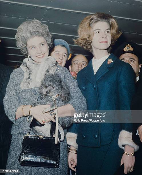 Frederica of Hanover, Queen consort of the Hellenes pictured left with her daughter Princess Irene of Greece and Denmark at an event in 1964.