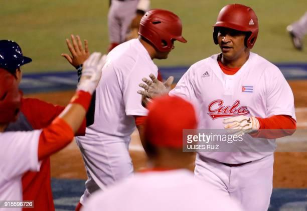 Frederich Cepeda of Alazanes del Granma of Cuba celebrates after scoring against Aguilas Cibaenas of República Dominicana during the Caribbean...