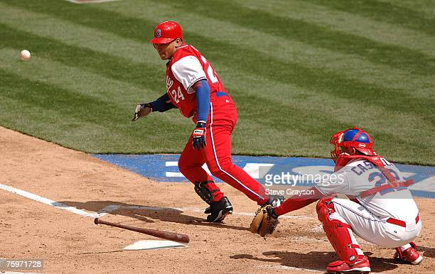 Frederich Cepeda of Cubal lays down a bunt during their contest against the Dominican Republic in the Semi-Finals of the 2006 World Baseball Classic...