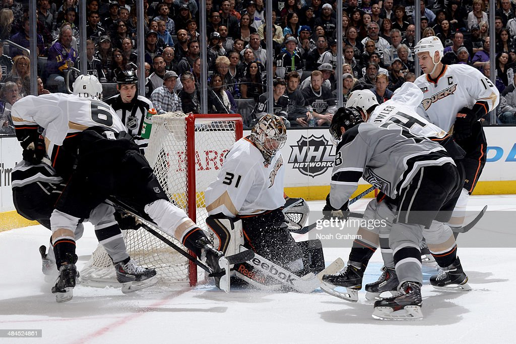 Frederick Andersen #31 of the Anaheim Ducks makes the save against the Los Angeles Kings at Staples Center on April 12, 2014 in Los Angeles, California.