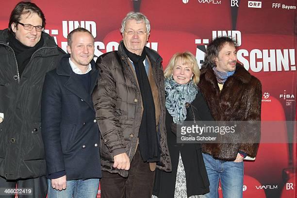 Frederick Backer Maximilian Brueckner Gerhard Polt Gisela Schneeberger and Michael Ostrowski attend the premiere of the film 'Und Aektschn' at City...