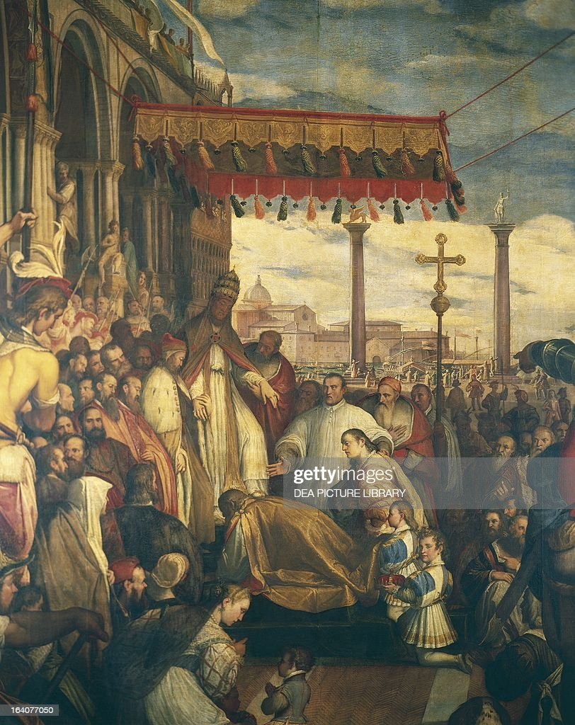 Frederick Barbarossa kneels before the Pope... : News Photo