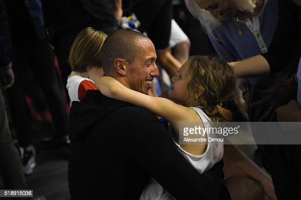 Frederick Bousquet and his daughter Manon on day six of the French National swimming championships on April 3 2016 in Montpellier France