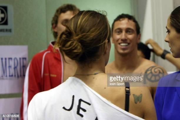 Frederick BOUSQUET / Laure MANAUDOU remet la medaille d'OR Record du monde Finale du 50m Nage Libre Championnats de France de natation 2009 Piscine...
