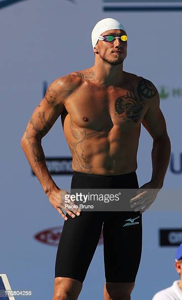 Frederick Bousquet of France prepares before the men 50 m Butterfly during the International Settecolli Trophy at Foro Italico on June 15 2013 in...