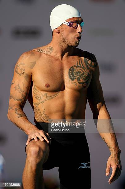 Frederick Bousquet of France prepares before the men 50 m Freestyle during the International Settecolli Trophy at Foro Italico on June 13 2013 in...