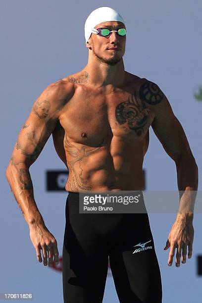 Frederick Bousquet of France prepares before the men's 50m Butterfly during the International Settecolli Trophy at Foro Italico on June 15 2013 in...