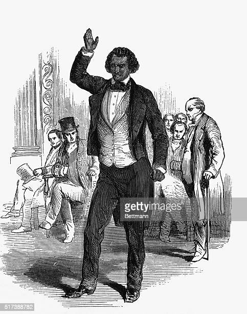 Frederick Douglas addressing an English audience during his visit to London in 1846 He also pleaded for Irish Home Rule Undated engraving