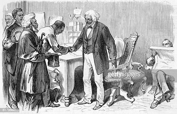 Frederick Douglass Abolitionist and writer welcoming some os his constituents to his office in WashingtonUndated woodcut