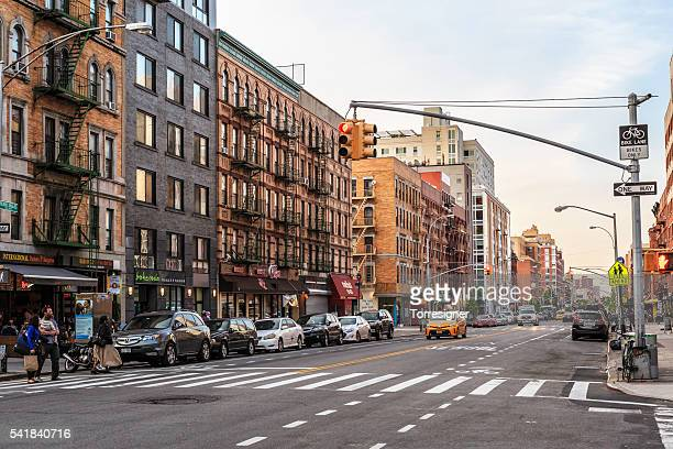 frederick douglass boulevard in harlem, at sunset - harlem stock pictures, royalty-free photos & images