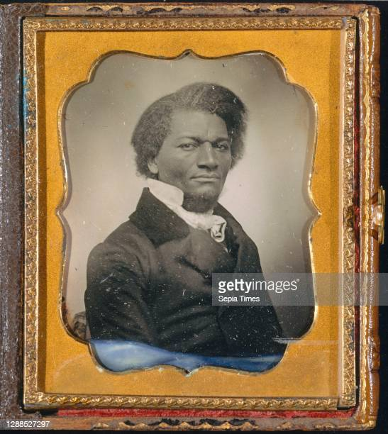 Frederick Douglass, ca. 1855, Daguerreotype, 8.3 × 7 cm , Photographs, Unknown , Born into slavery, the son of a white man and a black slave woman,...