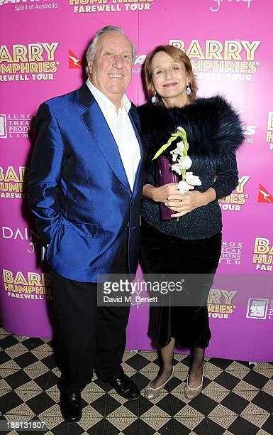 Frederick Forsyth and Sandy Molloy attend an after party celebrating the press night performance of 'Barry Humphries' Eat Pray Laugh' at One Mayfair...