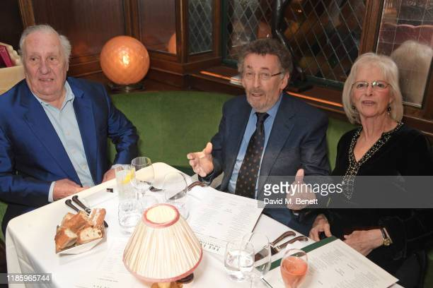 Frederick Forsyth Robert Powell and Babs Powell attend One Night Only at The Ivy in aid of Acting For Others on December 1 2019 in London United...